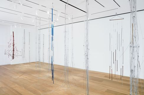 """Installation view, """"Gego: Autobiography of a Line,"""" Dominique Lévy, New York."""