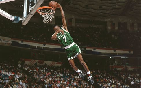 Reebok's peak: Dee Brown no-look basket capped his victory at the 1991 NBA Slam Dunk Contest.