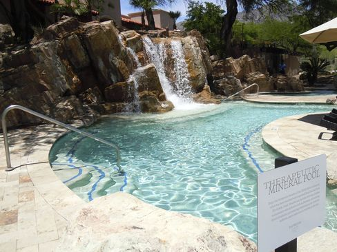 The therapeutic mineral pool, with Dead Sea salts, at Westin La Paloma Resort & Spa.