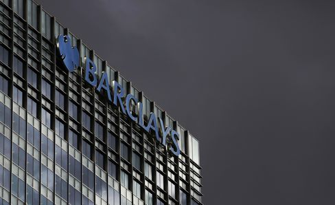 A Logo Sits on the Headquarters of Barclays Plc in London