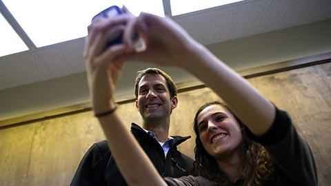 Representative Tom Cotton, Arkansas Republicans' Senate nominee, takes a selfie with campaign volunteer Aubrie Brister on Nov. 2, 2014, in Bentonville, Ark.