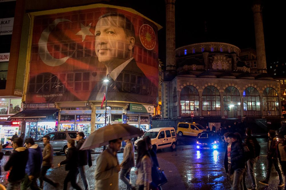 A large poster of Turkish president Recep Tayyip Erdogan is seen on a main street on Oct. 25, 2016 in Rize Turkey