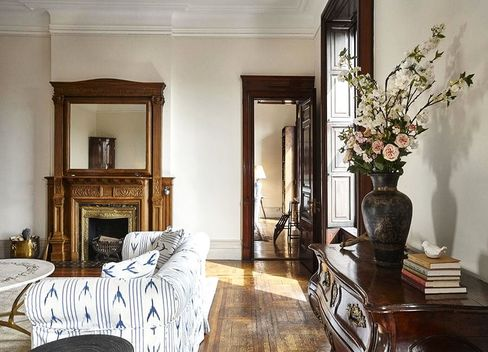 The living room of Apartment No. 43 at the Dakota, a nine-room prize currently listed by Warburg for $23.5 million