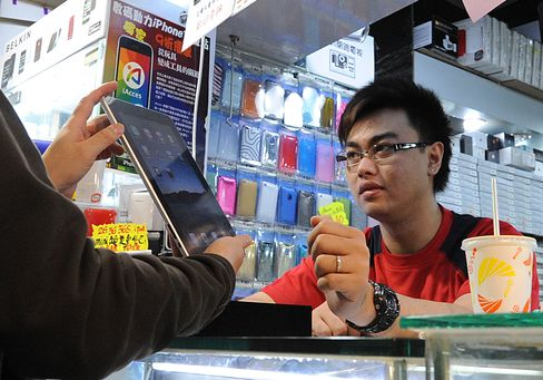 An Apple ipad at a computer mall in Hong Kong