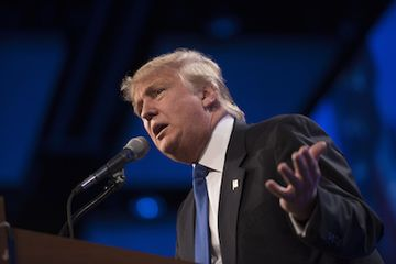 Donald Trump, president and chief executive of Trump Organization Inc., speaks during the Republican Party of Iowa's Lincoln Dinner in Des Moines, Iowa, U.S., on Saturday, May 16, 2015. Several current and potential candidates for U.S. president will speak during the dinner, hosted by the Republican Party of Iowa. Photographer: Daniel Acker/Bloomberg *** Local Caption *** Donald Trump