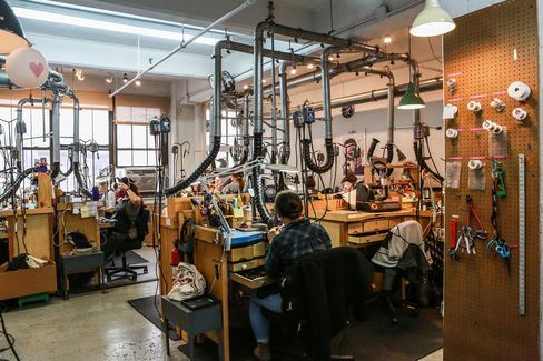 Inside Catbird's jewelry-making studio, tucked in the back of its headquarters in the Williamsburg neighborhood of Brooklyn, New York.