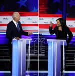Kamala Harris and Joe Biden on June 27.