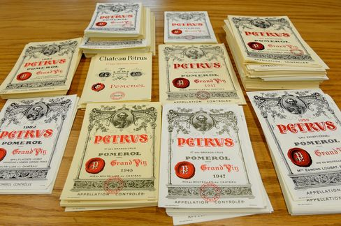 Wine labels used as evidence in Kurniawan's trial in federal court.