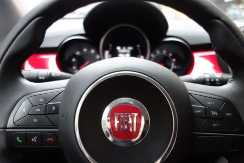 The 500X comes with a small instrument cluster at the front and is heavily branded with Fiat badging throughout.