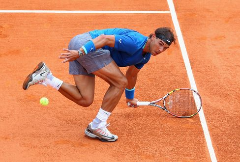 Rafael Nadal in action during the 2014 Monte Carlo Rolex Masters.