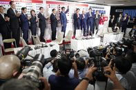 Japan's Prime Minister Shinzo Abe Reacts To The Upper House Election Results