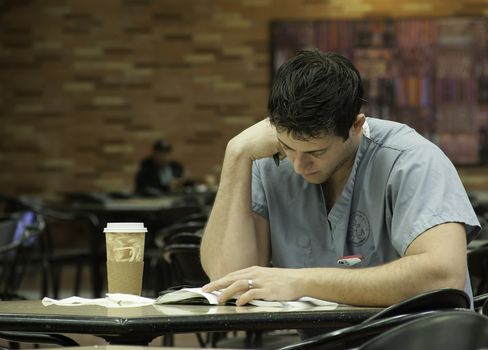 A student studies at the UCLA School of Medicine.
