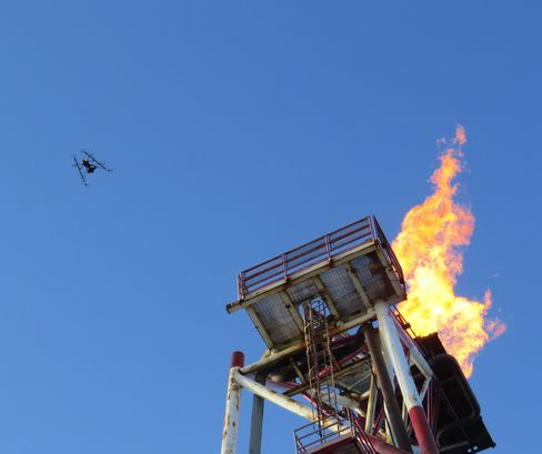 Drones can inspect the rig without shutting down operations.