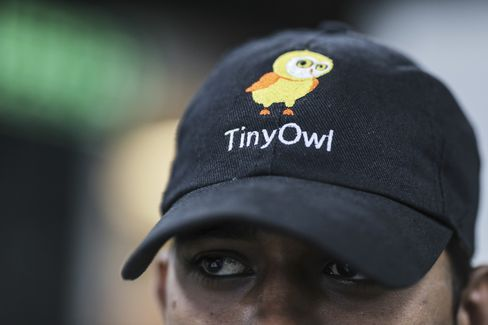 A food delivery employee at TinyOwl's head office in Mumbai.