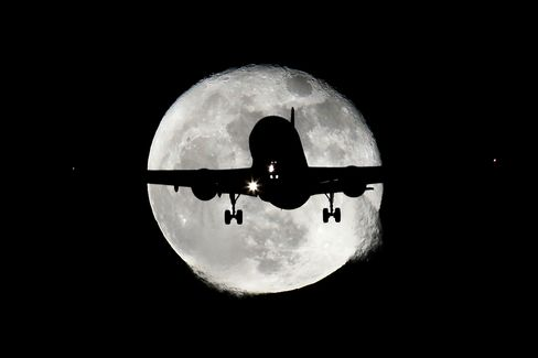 Planes Fly In Front of The Moon