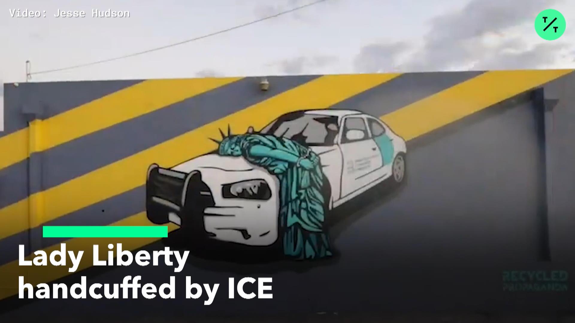 Lady Liberty Handcuffed By ICE