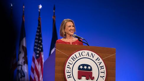 Republican presidential candidate Carly Fiorina speaks during the Republican Party of Iowa's Lincoln Dinner in Des Moines on May 16, 2015.