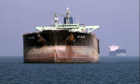 An Oil Tanker is seen near the Port of Bandar Abbas