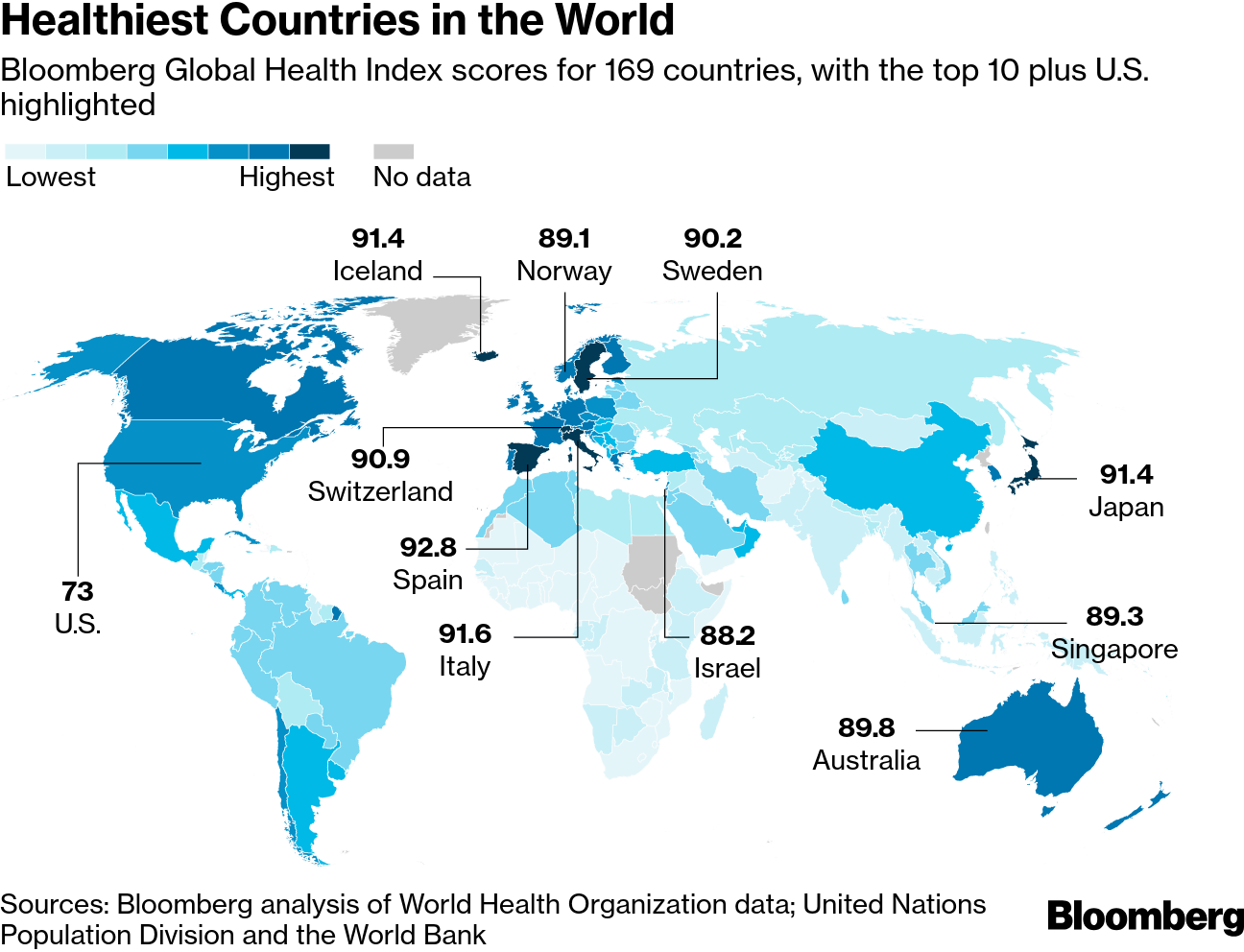 Spain On Map Of World.Healthy Nation Rankings These Are The Healthiest Countries Bloomberg