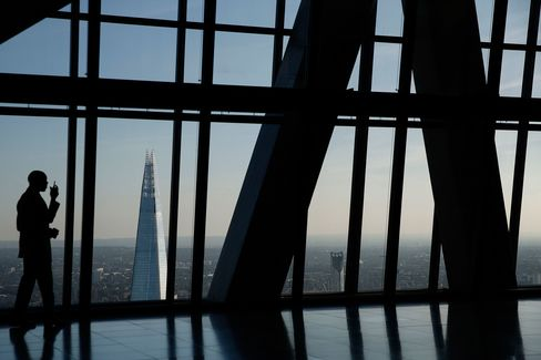 The Shard skyscraper stands on the city skyline seen from the 47th floor of the Leadenhall Building, also known as the Cheesegrater, in the financial district of London, U.K., on Sept. 3, 2014.