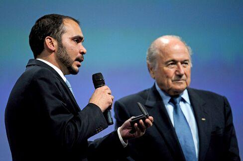 Prince Ali Bin Al Hussein of Jordan and FIFA President Sepp Blatter.