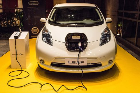 Nissan's Leaf, an all electric car, disp