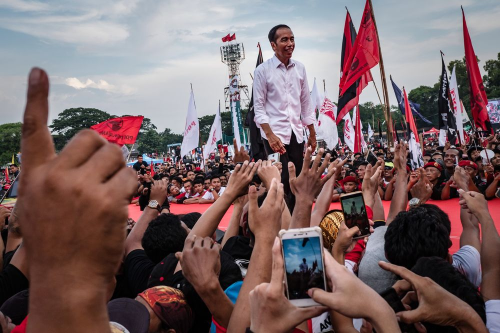Joko Widodo at an election campaign rally in Solo, Indonesia, on April 9.