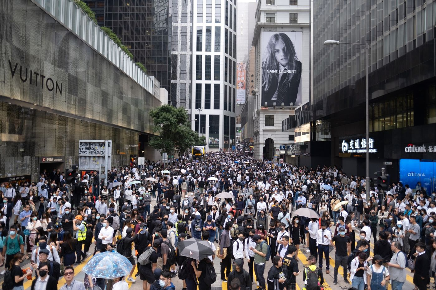 People gather during a protest in the Central district of Hong Kong on Nov. 12.