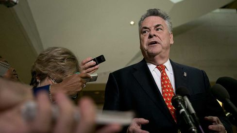 Representative Peter King, a Republican from New York, speaks to the media following a closed-door briefing with David Petraeus, former director of the Central Intelligence Agency (CIA), in Washington, D.C., U.S., on Friday, Nov. 16, 2012.