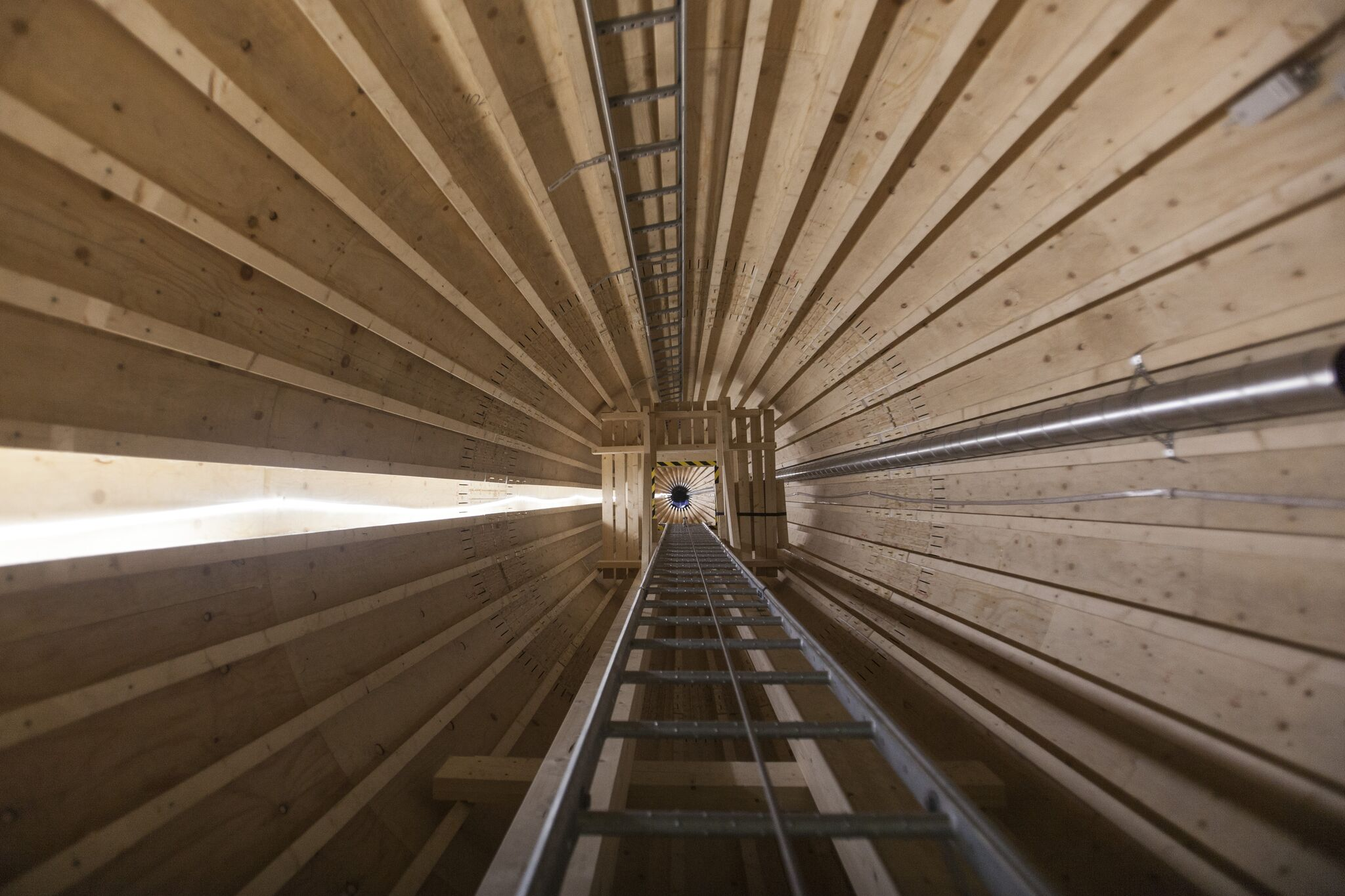 Inside a wood wind turbine tower from Modvion.