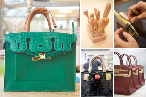 The Birkin in its various stages of production.