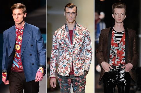 Flower power on the Spring 2014 runways at (from left) Prada, Gucci, and Saint Laurent.