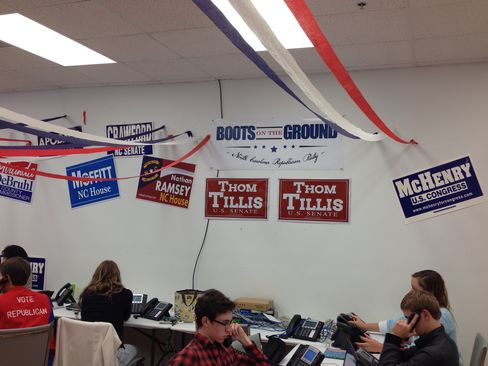 Canvassers hit the phones at the GOP's Asheville, N.C., regional office.