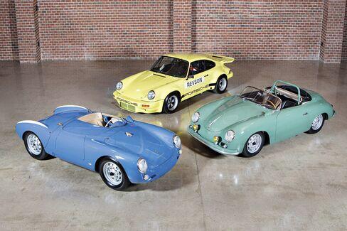 Shown (from left): 1955 Porsche 550 Spyder(estimate: $5 million-$6million);1974 Porsche 911 Carrera 3.0 IROC RSR(estimate: $1.2 million-$1.5 million);1958 Porsche 356 A 1500 GS/GT Carrera Speedster(estimate: $2 million-$2.5 million)