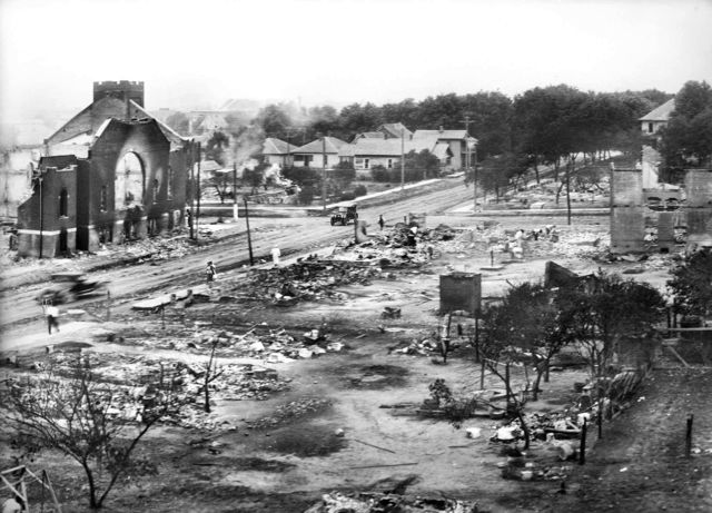 Part of the Greenwood District in Tulsa, Okla., after a White mob burned over a thousand homes there in 1921.