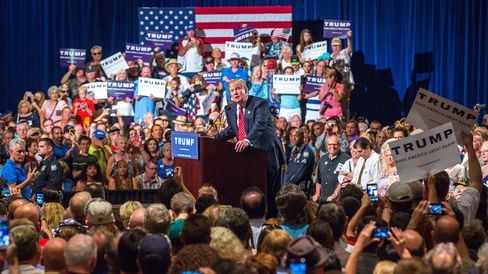 Donald Trump addresses supporters during a political rally at the Phoenix Convention Center on July 11, 2015, in Phoenix, Arizona.