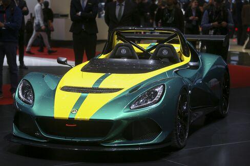 The Lotus Elise Cup 3-11, on display in Geneva.