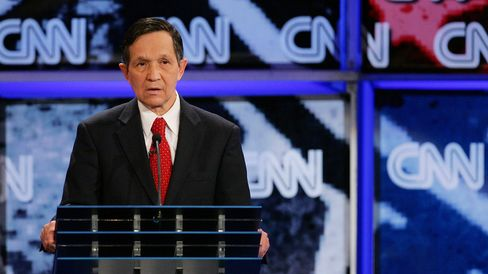 U.S. Rep. Dennis Kucinich (D-OH) attends a Democratic presidential debate at UNLV sponsored by CNN November 15, 2007 in Las Vegas, Nevada.