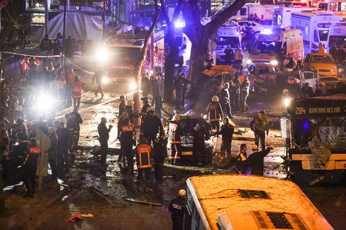 Site of the explosion in Ankara's central Kizilay district on March 13.