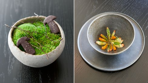 At Noma in Tokyo: Fermented mushrooms coated in chocolate, with wild cinnamon sticks for chewing; Citrus salad with kelp oil and sansho leaves and berries.