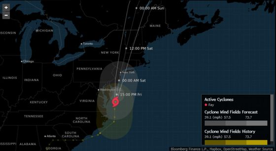 Tropical Storm Fay Comes Ashore in New Jersey on Way to New York