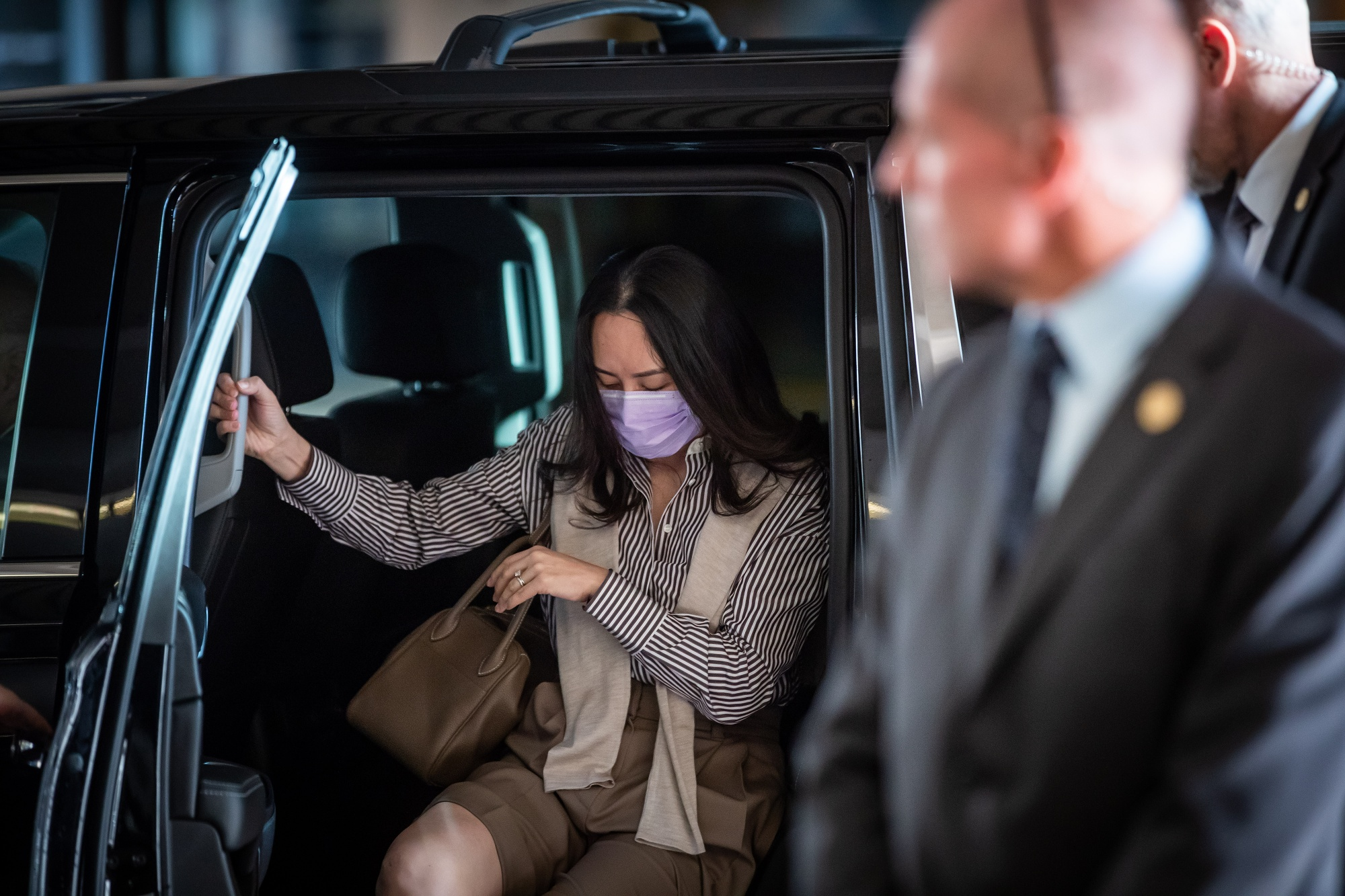 Meng Wanzhou arrives at the Supreme Court in Vancouver, Canada, on Sept 28.