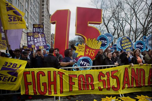 Demonstrators rally in support of a minimum-wage increase in New York on April 15. Fast-food workers held rallies in 236 U.S. cities.