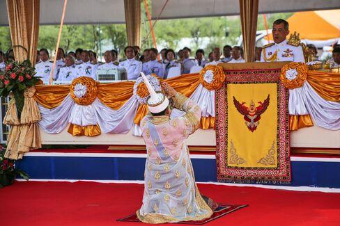Maha Vajiralongkorn, crown prince of Thailand, attend ceremony at Sanam Luang park in Bangkok on May 9.