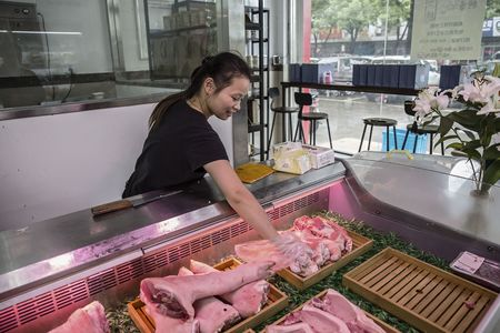 A retail store operated by Shen, selling antibiotic-free pork.