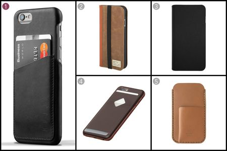 (1) Leather wallet case for iPhone, Mujjo, $35.21, mujjo.com; (2) Brown leather icon wallet for iPhone, HEX, $49.95, shophex.com; (3) Hinge case for iPhone, Logitech, $49.95 apple.com; (4) Phone case 3 card, Bellroy, $64.95, bellroy.com; (5) Tobacco Horween latigo leather, MAKR, $120, makr.com