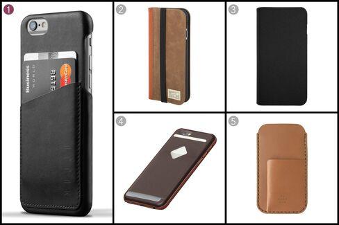 (1) Leather wallet case for iPhone, Mujjo, $35.21, mujjo.com; (2) Brown leather icon wallet for iPhone, HEX, $49.95, shophex.com; (3) Hinge case for iPhone, Logitech, $49.95 apple.com; (4) Phone case 3 card, Bellroy, $64.95, bellroy.com; (5) Tobacco Horween latigo leather, MAKR, $120, makr.com