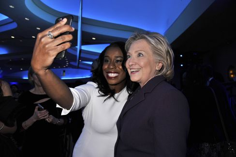 Actress Uzo Aduba, left, and former Secretary of State Hillary Clinton attend the EMILY's List 30th Anniversary Gala on March 3, 2015, in Washington.