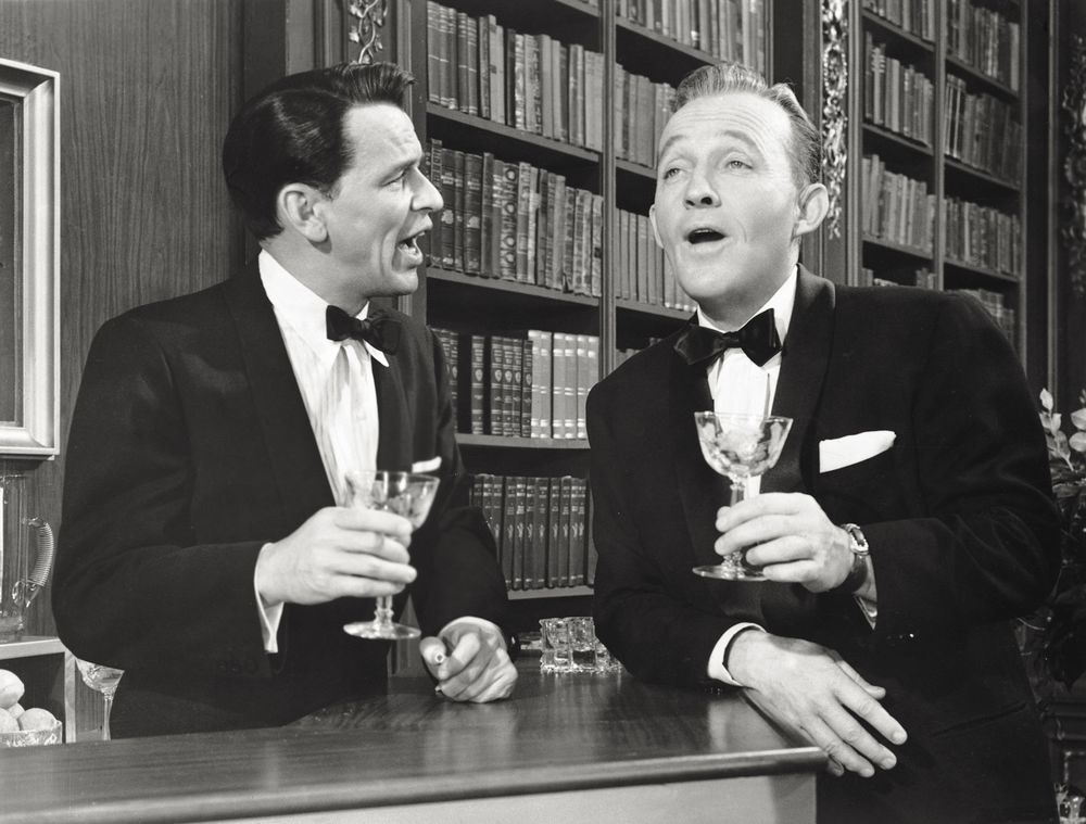 2581360240 Frank Sinatra and Bing Crosby playing a scene in High Society in 1956.