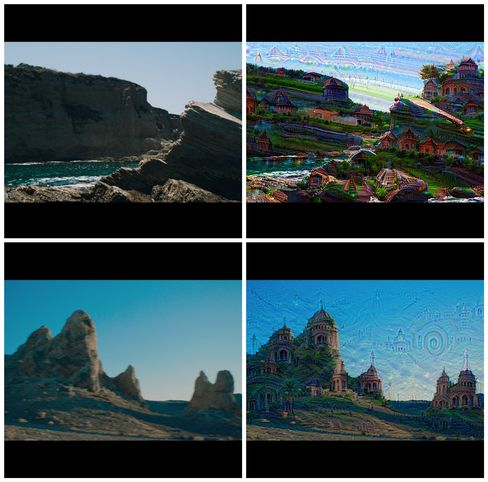 Examples from Years & Years' video showing the raw footage (left) and the AI-altered images (right).